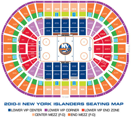 Схема зала New-York, Nassau Veterans Memorial Coliseum